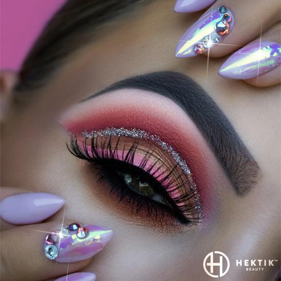 melbourne mobile nails swarovski glitter pink silver holographic 1